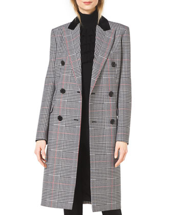 Plaid Double-Breasted Wool Coat, Ruffle-Front Wool Turtleneck & ...