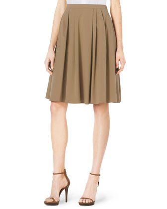 Twist-Sleeve Stretch-Cotton Blouse & Pleated A-Line Dance Skirt