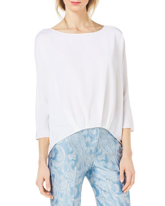 Silk-Blend High-Low Blouse & Samantha Paisley-Print Slim Pants