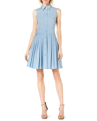 Sleeveless Pleated Cotton Shirtdress