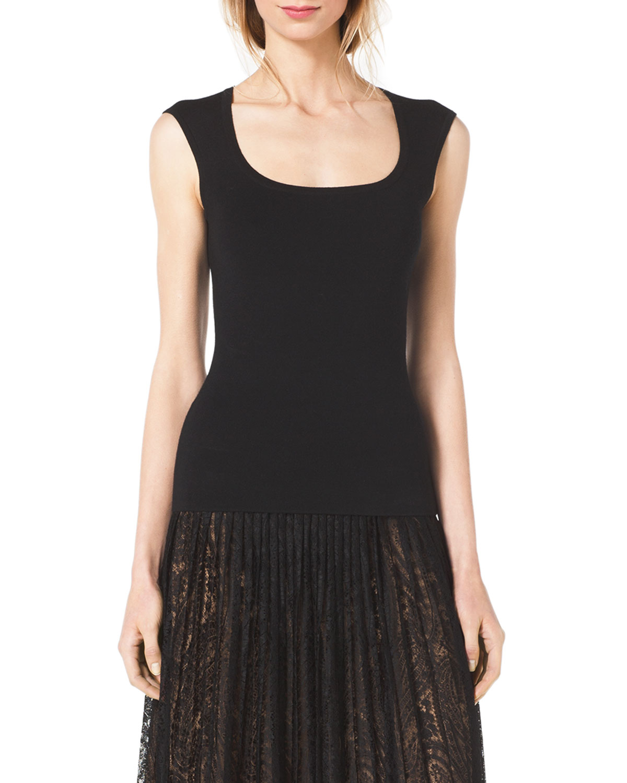 Womens Scoop Neck Cap Sleeve Top   Michael Kors   Black (X SMALL)
