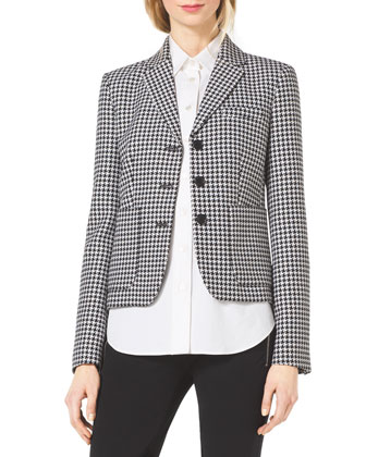 Houndstooth Fitted Wool-Jacquard Blazer & Stretch-Twill Zipper Riding Pants