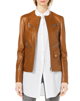 Leather Moto Zip-Front Jacket & Long-Sleeve Silk Blouse