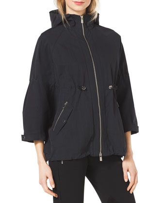 Crinkled Short Anorak Jacket & Stretch-Twill Zipper Riding Pants