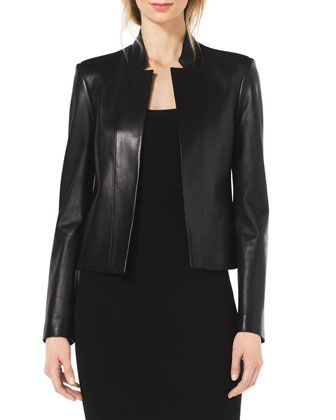 Stand-Collar Leather Jacket, Scoop-Neck Cap-Sleeve Top & Formfitting Wool ...