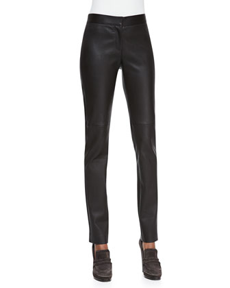 Zip-Front Leather Leggings