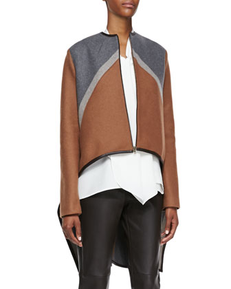 Tricolor Zip Cape Jacket, Sleeveless Tie-Front Blouse & Zip-Front Leather ...