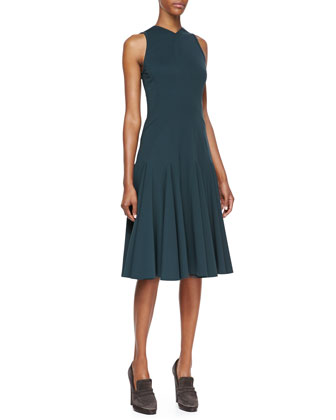 Sleeveless Dress with Seamed Details, Petrol