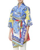 3/4 Sleeve Hawaiian & Paisely Print Tunic with Belt, Multicolor