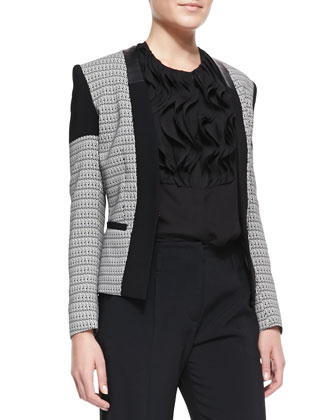 Chain-Print Cady & Leather-Trim Open Jacket
