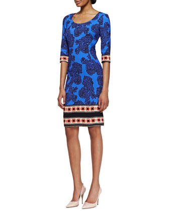 3/4-Sleeve Paisley Sheath Dress with Striped Border