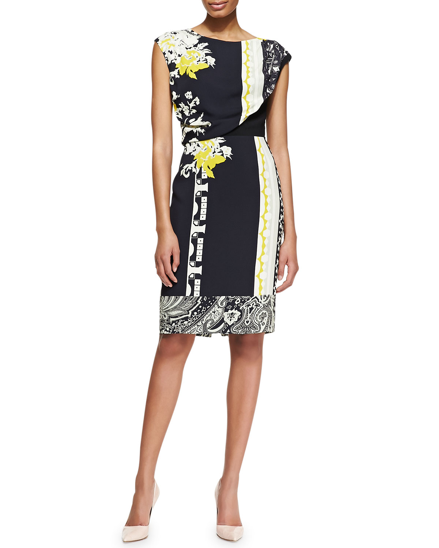Womens Geo Patch & Floral Print Drape Top Dress   Etro   Gold (48/14)