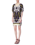 Short-Sleeve Hawaiian & Paisley Print Tunic Dress, Black/White/Gold