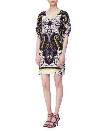 Short-Sleeve Hawaiian & Paisley Print Tunic Dress, Black/White/Gold