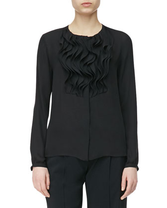 Solid Chiffon Ruffle Front Silk Top, Black