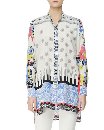 3/4-Sleeve Melange Colorblock Cardigan, Button-Down Deco Dot/Floral Tunic & ...