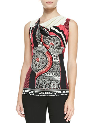 Striped & Paisley-Print Jersey Top