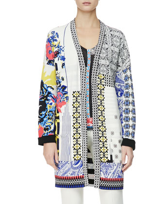 Multimedia Patch-Print Duster Jacket, Hawaiian Paisley Stamp-Print Top & ...