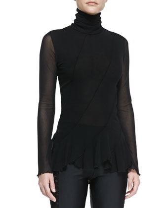 Long-Sleeve Seamed Flounce-Bottom Top & Side-Cutout Leggings