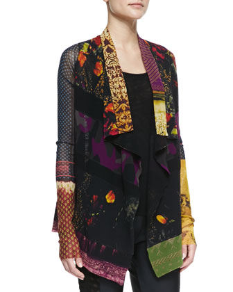 Sheer Patchwork-Print Cardigan, Solid Tank & Side-Cutout Leggings