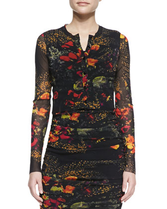 Printed Floral Cropped Cardigan & Sleeveless Floral-Printed Fitted Dress