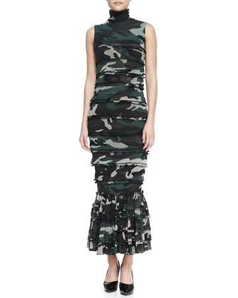 Sleeveless Tiered Camo Maxi Dress, Green/Multi