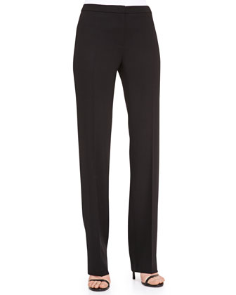 Straight-Leg Wool Pants, Black