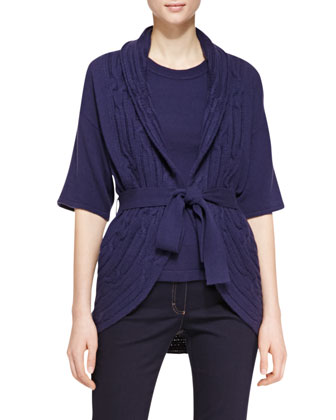Short-Sleeve Tie-Waist Sweater, Navy