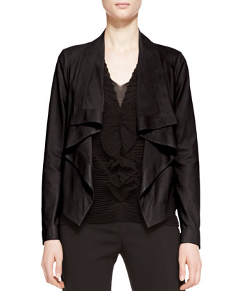 Leather Ruffle-Front Jacket, Black