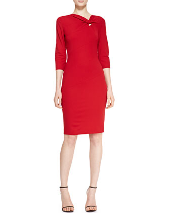 3/4-Sleeve Off-Center Twist Keyhole Dress, Garnet Red