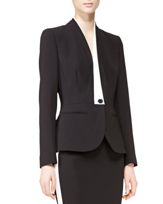 One-Button Illusion Blazer & Pencil Skirt with Racing Stripe