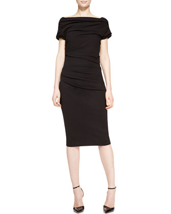 Short Sleeve Ruched Sheath Dress, Black