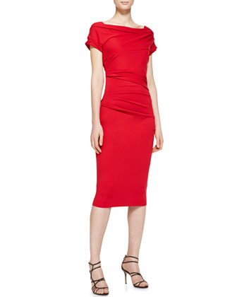 Short Sleeve Ruched Sheath Dress, Garnet Red