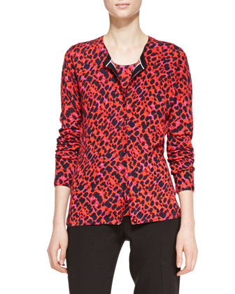 Fantasy Patterned Cardigan Sweater, Multicolor