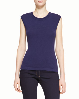 Cap-Sleeve Fitted Tee, Navy