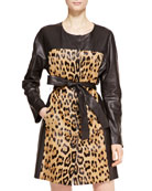 Leather Leopard Trench Coat