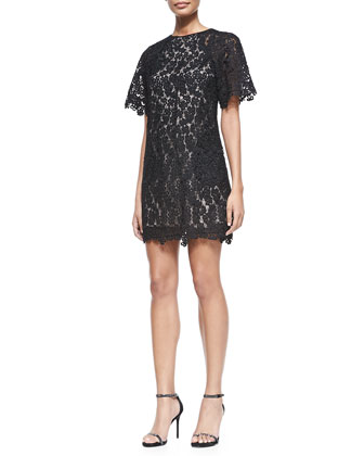 Aliya Trapeze Floral Lace Dress, Black