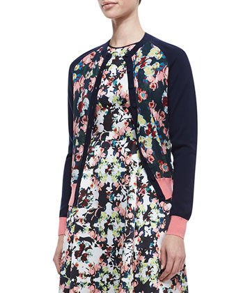 Dorothy Floral Long-Sleeve Cardigan & Bunty Floral Silk Dress with Full ...