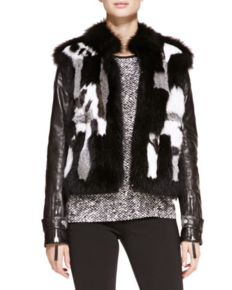 Leather-Sleeve Patchwork Fur Jacket, Tile-Print Silk-Twill Tee & Punto ...
