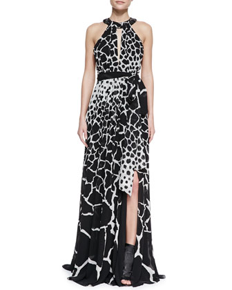 Halter-Neck Giraffe-Print Gown, Black/White