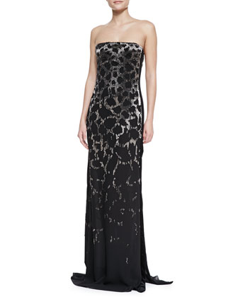 Strapless Embellished Leopard Gown, Black