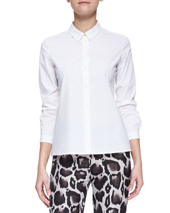 Long-Sleeve Stretch Cotton Poplin Blouse, White