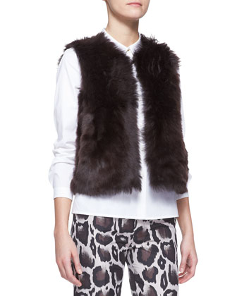 Reversible Shearling Vest, Long-Sleeve Stretch Cotton Poplin Blouse & Macro ...
