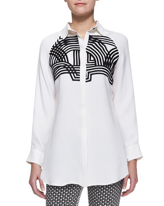 Embellished Line-Drawn Blouse