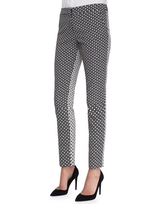 Embellished Line-Drawn Blouse and Caroline Printed Reverse-Back Pants