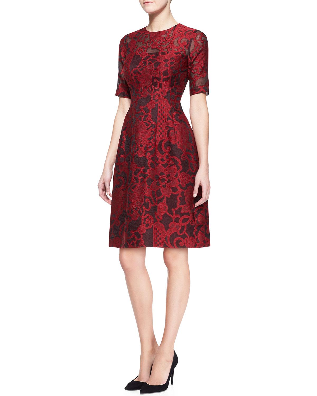 Womens Brocade Lace Elbow Sleeve Dress   Lela Rose   Cardinal (10)