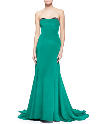 Embellished-Sweetheart-Neck Strapless Gown