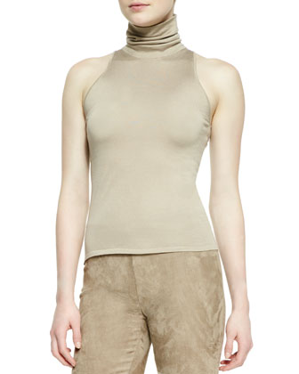 Helene Drape-Neck Jacket, Sleeveless Turtleneck Top & Suede Eleanora Pants