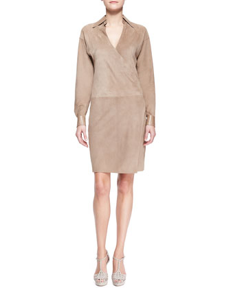 April Suede Surplice Shirtdress