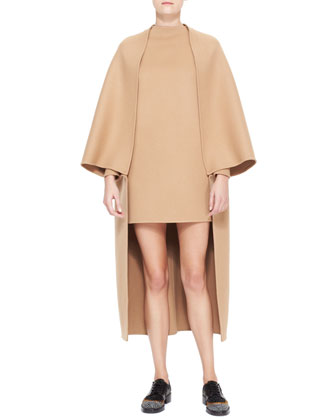 Long Cape-Sleeve Double Felt Coat & Dolman-Sleeve Double-Felt Shift Dress